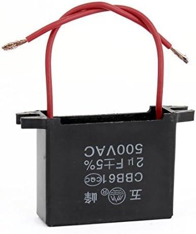cbb61 2 Rode Draad eléctrica ventilador Capacitor Black 2uf ac500 ...
