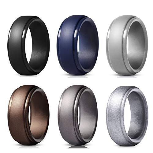 WANTech Silicone Wedding Rings for Men, 6 Pack Silicone Rubber Wedding Bands, Weight Training, Sports, Military, Work, Hunting, Exercise Travel and Outdoors (6 Pack-2, 19.76mm) (Rings For Men Size 6)