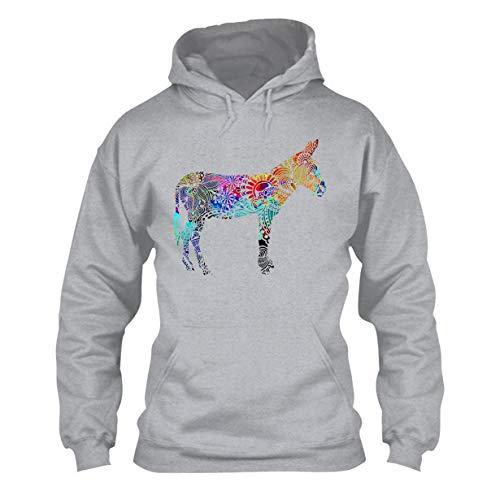 Donkey Lover Long Sleeve Hoodie, Hooded Sweatshirt Grey,2XL