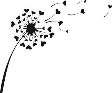 Amour Coeur Fleurs Pissenlit Stickers Mural Art Mural Autocollant 02