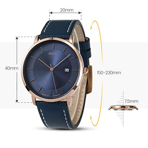 MDC Mens Minimalist Classic Analog Watch Blue Leather Ultra Thin Wrist Watches for Men with Date Dress Business Casual by MDC (Image #7)