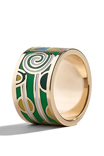 Yellow Green Enamel Ring - 4