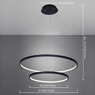 Lightinthebox Chandelier Modern Design 60cm Cut Acrylic Dimmable LED 50W Pendant With Oval Two Rings,Ceiling Light Fixture For Living Room Bedroom Dinning Room