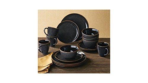 Better Homes and Gardens Stoneware 16 pc Round Black Speckled Burns Dinnerware Set (Rustic Stoneware)
