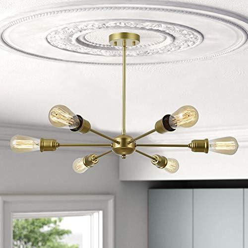 FERWVEW 6-Light Industrial Mid-Century Ceiling Lighting Fixture Satin Gold Sputnik Chandelier