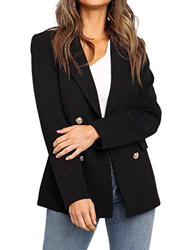 (LookbookStore Women's Black Double Breasted Blazer Front Buttons Shoulder Pads Work Office Blazer Jacket Suit Size XXL US 20 22)