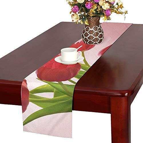 QYUESHANG Flowers Tulips Valentine Romance Bouquet Pink Red Table Runner, Kitchen Dining Table Runner 16 X 72 Inch for Dinner Parties, Events, Decor