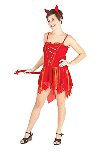 Momo&Ayat Fashions Ladies Halloween Devils Delight Costume Onesize US 4-10 (Onesize (US 4-10), Red) -