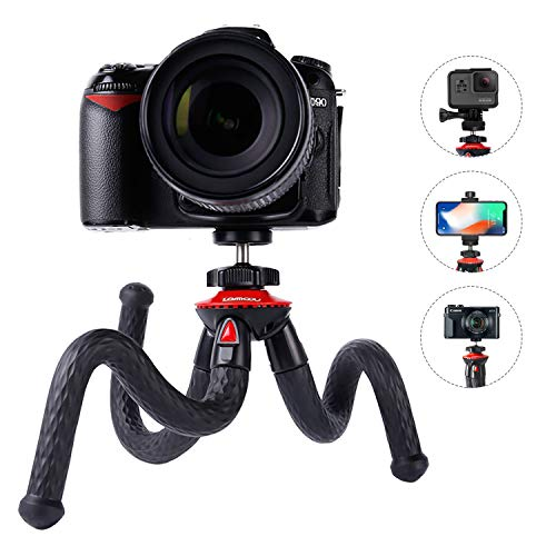 Camera Flexible Tripod, Lammcou Cell Phone Tripod 12 Inch Gorilla Tripod Lightweight Bendable Tripod with Smartphone Stand, GoPro Adapter for iPhone XS Max/DSLR/Canon GX7 Mark II/Xiaomi/Sony - (Black)