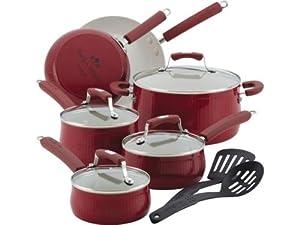 Paula Deen 12-pc. Nonstick Savannah Collection Cookware Set, Red