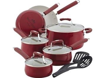Paula Deen 12-pc. Juego de colección de la sabana - Batería de cocina antiadherente, color rojo: Amazon.es: Hogar