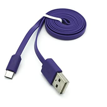 Premium Purple 3ft Flat USB Cable Charging Cord Data Sync Wire for Lenovo Yoga Tablet 8 - LG G Pad 10.1 - LG G Pad 7.0 - LG G Pad 8.0 - LG G Pad 8.3 - ...