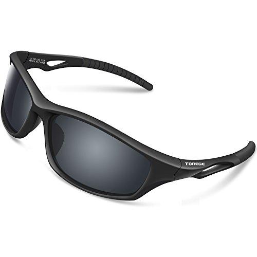 TOREGE Polarized Sports Sunglasses For Men Women For Cycling Running Fishing Golf TR90 Unbreakable Frame TR010-1 (Black&Black Tips&Grey lens)