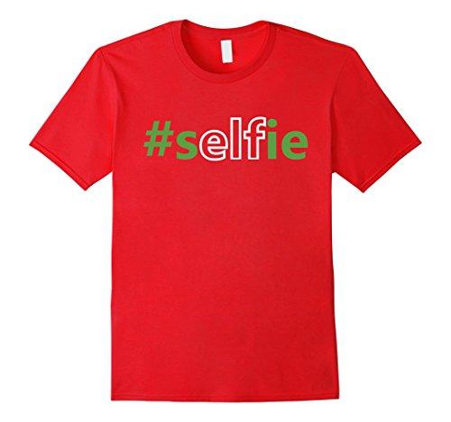 [Men's Elfie Selfie Elf on the Shelf Costume with Hat Funny T-Shirt 3XL Red] (Elf On Shelf Costumes)