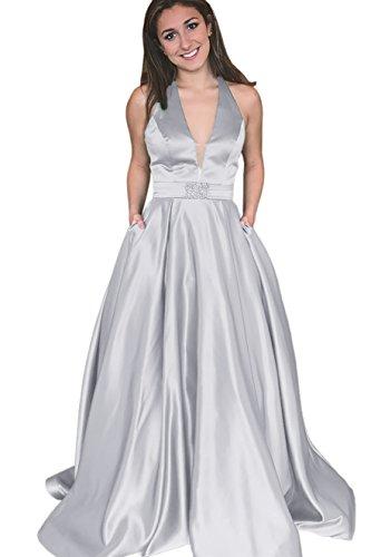 Prom Formal Halter Line Silver Dress Backless Gorgeous Dressylady A Long Evening Neck Pocket Dress V With wBZ0Zqtv