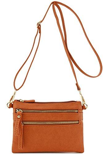 Multi Zipper Pocket Small Wristlet Crossbody Bag (Topaz) by FashionPuzzle