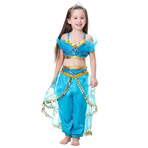 Latocos Jasmine Costume Kids Princess Jasmine Dress for Girls Princess Fancy Dress Halloween Costume Cosplay Dress Up Party Outfit 3-12 Years (Age: 4-5 Years, Height 47