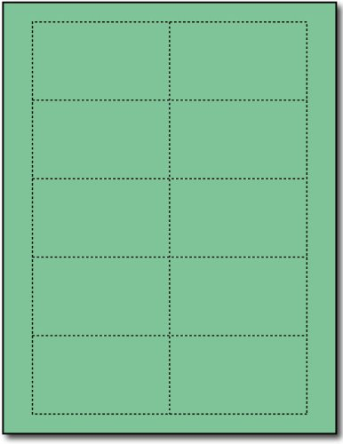 Business Cards, 110lb Index Green - 25 Sheets / 250 Business Cards by Desktop Publishing Supplies, Inc.
