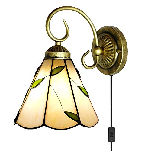 Black Sconce Tiffany - Kiven Tiffany Wall lamp E26 1-Light Plug-in Bulb not Included Wall Sconce Glass Shade 6 Foot Black Cord(BD0527)
