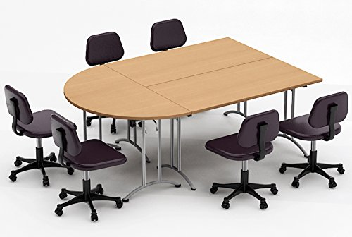 Chair Conference Meeting (TeamWORKTables 2906 Compact Space Maximum Collaboration Meeting Seminar Conference Tables, Assembled, Easy-to-Setup-and-Use, Natural Beech, 3 Piece Combo (Chairs Not Included))