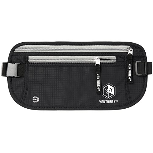 VENTURE 4TH Travel Money Belt for Men and Women - Keeps Your Cash Safe When Traveling - Hidden Waist Passport Holder with RFID Blocking Technology (Black)