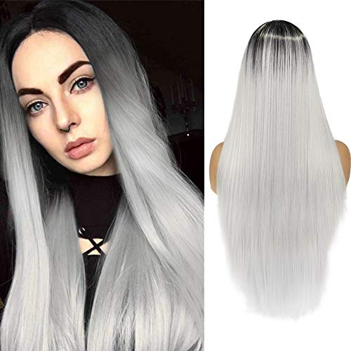 WIGER Ombre Grey Wig Long Straight Colored Hair Synthetic Wigs Middle Part Natural Looking Heat Resistant Party Cosplay Costume Full Wigs for Women Girls