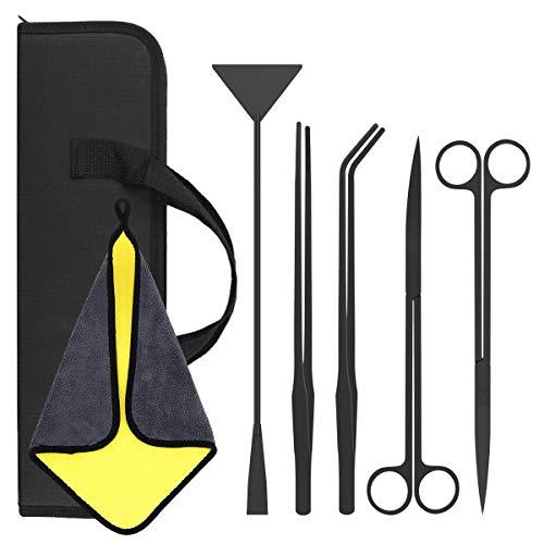 Lewondr Aquarium Tools Kit, 5 in 1 Stainless Steel Aquariums Tools Aquatic Plant Tweezers Scissor Spatula Tool Starter Kit,Anti-Rust Aquascaping Tools Kit for Fish and Aquatic Plants Aquariums Tank