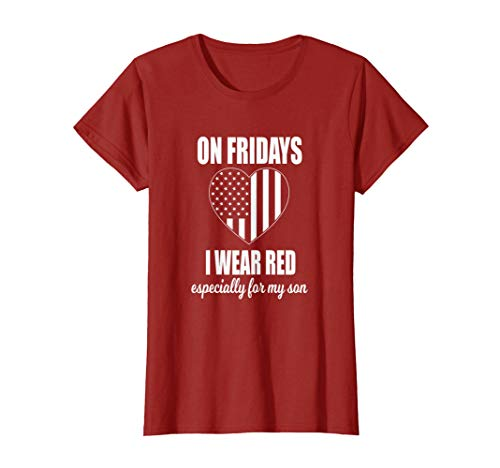 Womens Deployed Son Shirt For Women Red Friday Military T-shirt