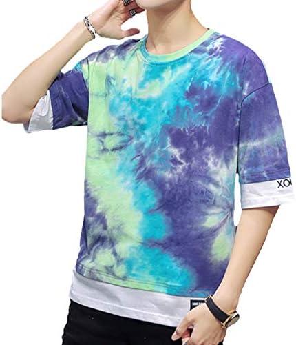 3色 タイダイ Tシャツ 半袖 重ね着風 トレンド ストリート系 ビックシルエット ドロップショルダー カットソー ゆったり Uネック 大きいサイズ 部屋着 韓国風 綿 春夏 M~3XL