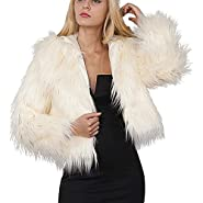 NUWFOR Womens Ladies Warm Faux Fur Coat Jacket Winter Solid Hooded Parka Outerwear White