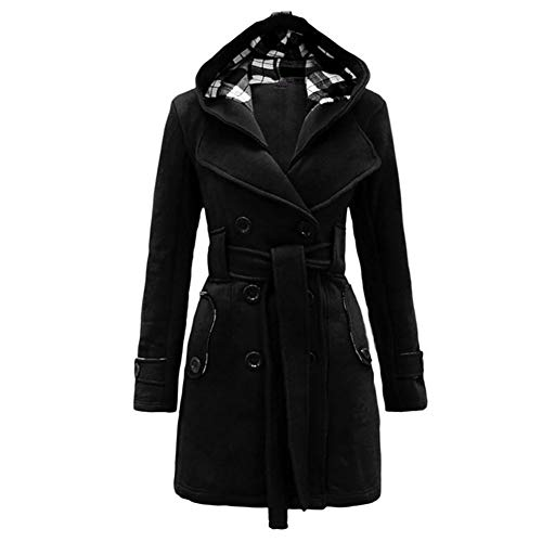 Inmindboom Women Autumn Winter Double-Breasted Solid Color Coat Loose Thickened Hoodie with Belt Long Sleeved Tops Black