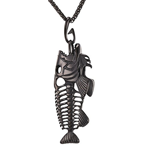 (U7 Men Stainless Steel Black Metal Plated Fish-Hook Fish Skeleton Bone Pendant Necklace)