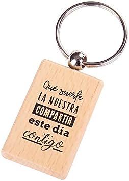 Lote de 12 Llavero de Madera con Frases Suerte La Nuestra - Llaveros con Frases Originales Bodas, Bautizos, Comuniones y Celebraciones