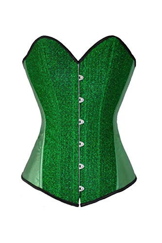 SZIVYSHI Women's Gold Boned Lace Up Back Corset Top (X-Large, Green)