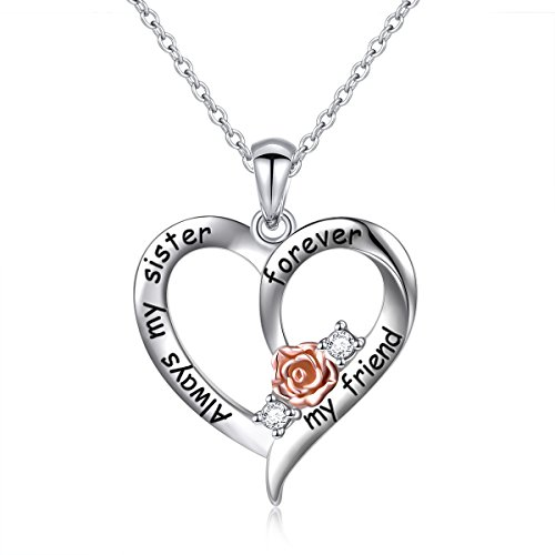 Sterling Silver Always My Sister Forever My Friend Rose Flower Love Heart Necklace