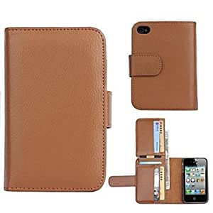 CA-TT-121 High-Grade Wallet Design PU Leather Full Body Case with Card Slot for iPhone 4/4S (Assorted Colors)