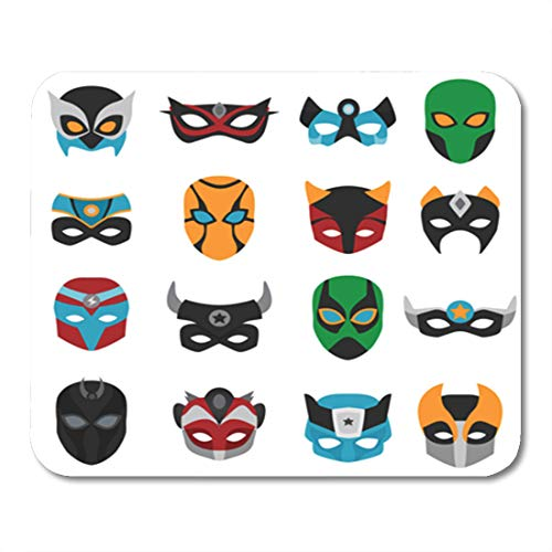 Semtomn Gaming Mouse Pad Blue of Female and Male Masks Various Ornaments Horns Signs 9.5