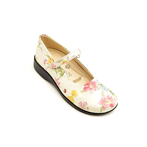 Arcopedico 7151 Scala Womens Flats Shoes White Flowers WBSSROi7C
