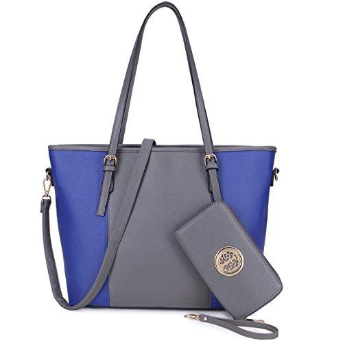 Royal Blue Tote Handbag - Women's Two Tone Fashion Handbag Top Handle Satchel Purse Tote Bag With Matching Wallet (Dark Grey/Royal Blue)