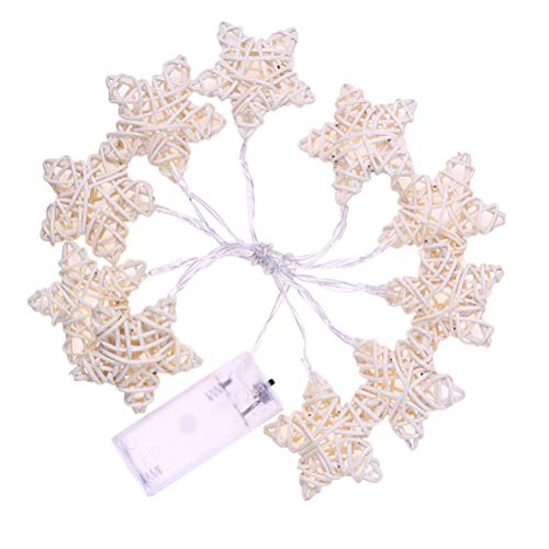 (BESTOYARD 10LED Warm White String Lights Battery Powered Rattan Five-Pointed Stars Light for Christmas Wedding Birthday Home Church Balcony(Without Battery))