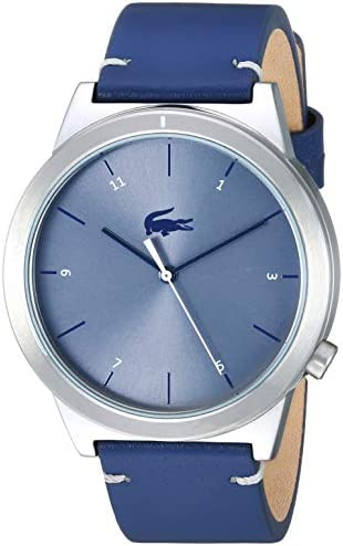Lacoste Men's Motion Stainless Steel Quartz Watch with Leather Calfskin Strap, Blue, 20 (Model: 2010989) 1