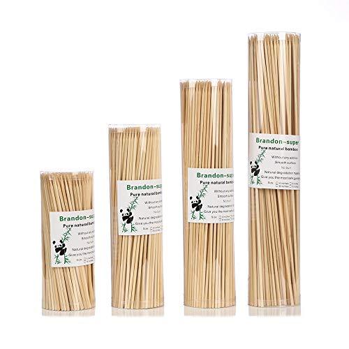 Brandonsuper Bamboo Skewers 12 Inch (200 Pcs) Natural BBQ for Shish Kabob, Grill, Appetizer, Fruit, Corn, Chocolate Fountain