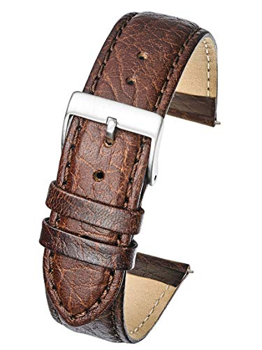Soft Stitched Semi Padded Genuine Leather Buffalo Grain Watch Band in Extra Long Length for Wider Wrists ONLY- Brown - 20XL (fits Wrist Sizes 7 1/2 to 9 inch)