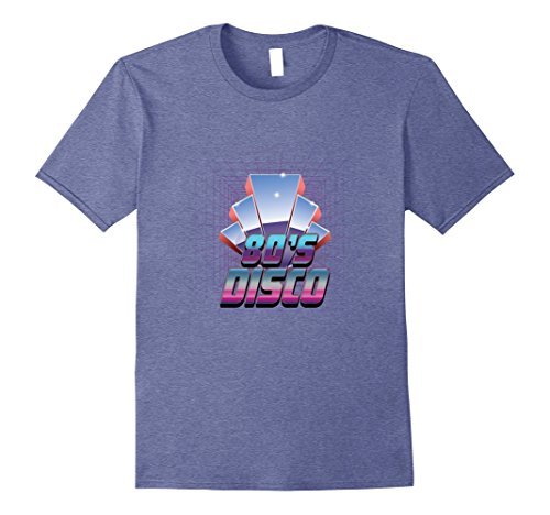 80s Attire Male (Mens 80s Disco, Love Eighties Disco Party Chrome Style Tshirt 2XL Heather Blue)
