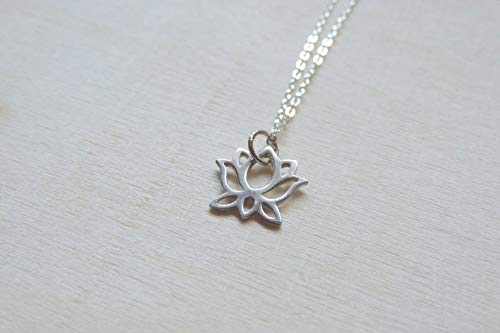 Amazoncom Sterling Silver Lotus Flower Necklace Detailed Cut Out