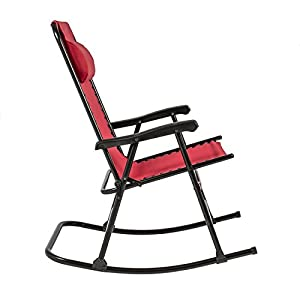 Best Choice Products Folding Rocking Chair Foldable Rocker Outdoor Patio Furniture Red