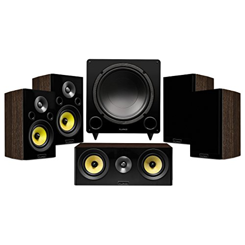 Fluance Signature Series Compact Surround Sound Home Theater 5.1 Channel Speaker System Including Two-Way Bookshelf, Center, Rear Surround Speakers, and DB12 Subwoofer – Walnut (HF51WC)