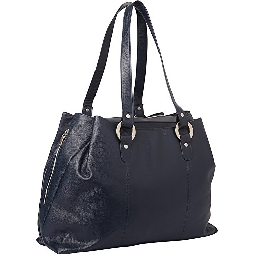 Piel Three Compartment Leather Tote (Navy) by Piel Leather