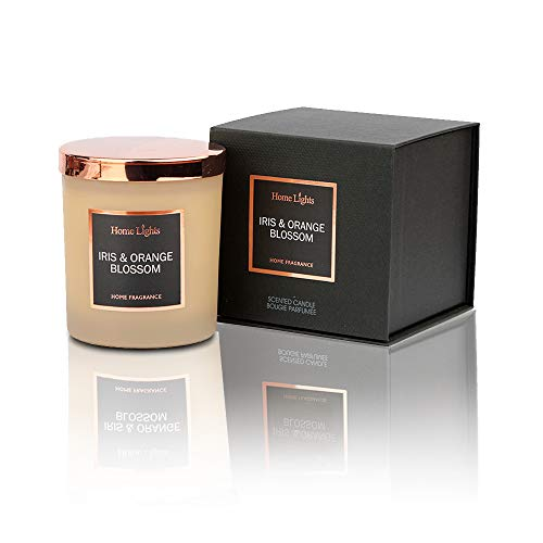 Iris Blossom - Home Lights Luxury Designer Jar Scented Candle, Rosegold Steel Lid and Silky Coloured Glass 100% Nature Soy Wax, 7.19 oz, Highly Scented & Long Lasting-Iris & Orange Blossom