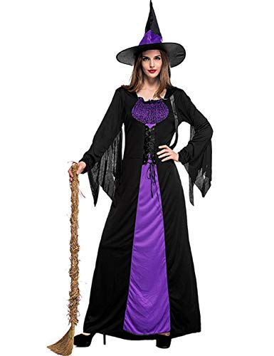 Colorful House Women Classic Wicked Witch Costume, Purple Long Sorceress -